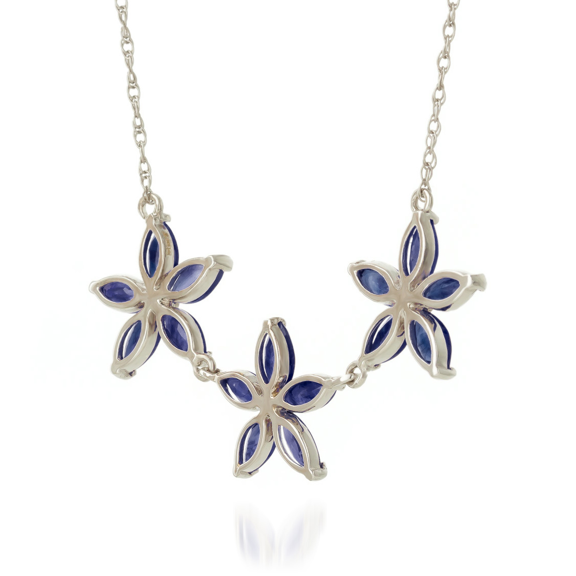 Marquise Cut Sapphire Pendant Necklace 5.0ct in 9ct White Gold