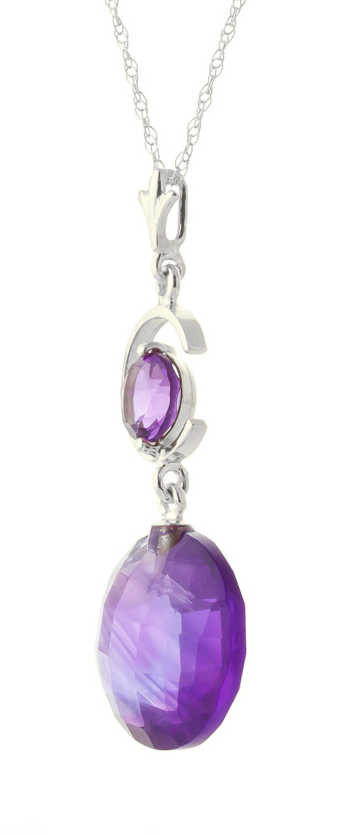 Round Brilliant Cut Amethyst Pendant Necklace 5.8ctw in 9ct White Gold