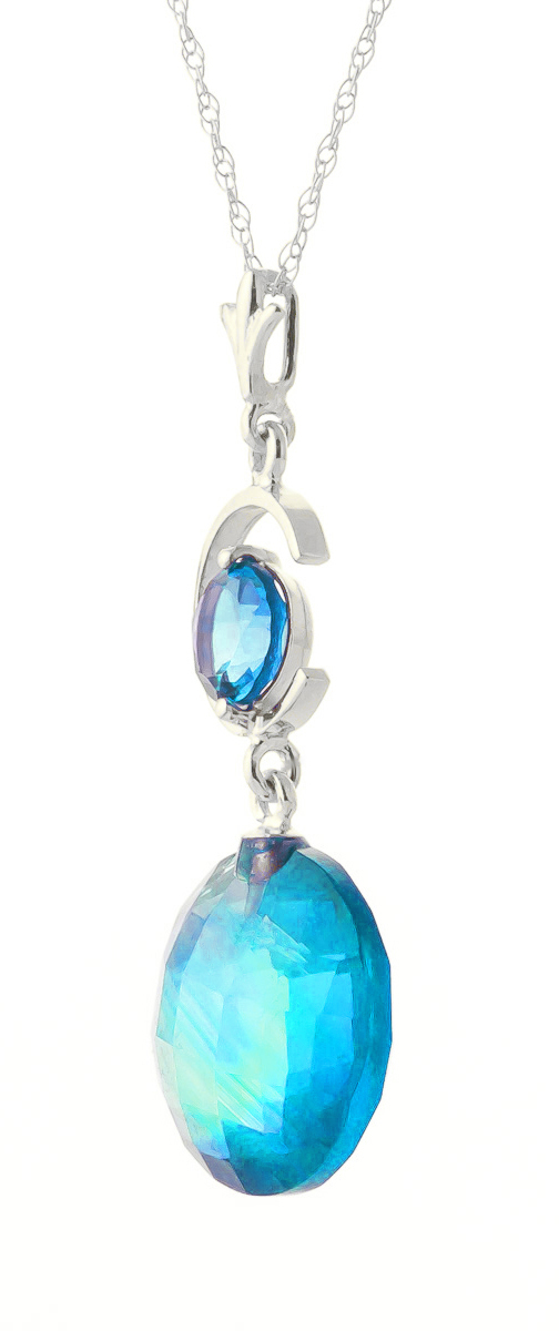 Round Brilliant Cut Blue Topaz Pendant Necklace 5.8ctw in 9ct White Gold