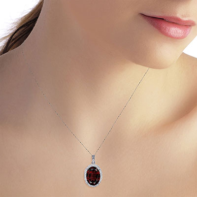 Garnet and Diamond Halo Pendant Necklace 6.05ct in 9ct White Gold