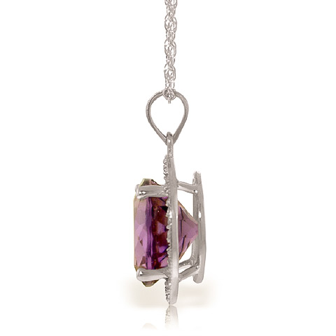 Amethyst and Diamond Halo Pendant Necklace 6.0ct in 9ct White Gold