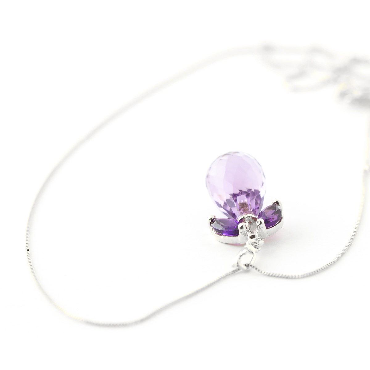 Amethyst Briolette Pendant Necklace 7.2ctw in 9ct White Gold