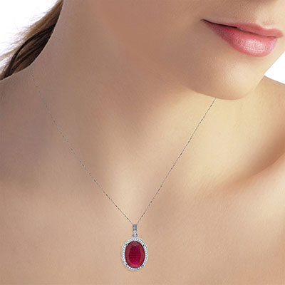 Ruby and Diamond Halo Pendant Necklace 7.75ct in 9ct White Gold
