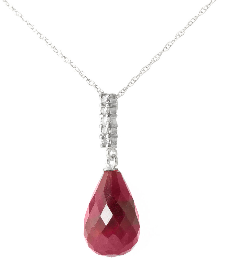 Ruby and Diamond Pendant Necklace 8.8ct in 9ct White Gold