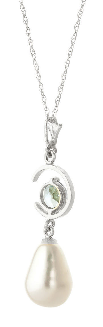 Pearl and Aquamarine Pendant Necklace 4.5ctw in 9ct White Gold