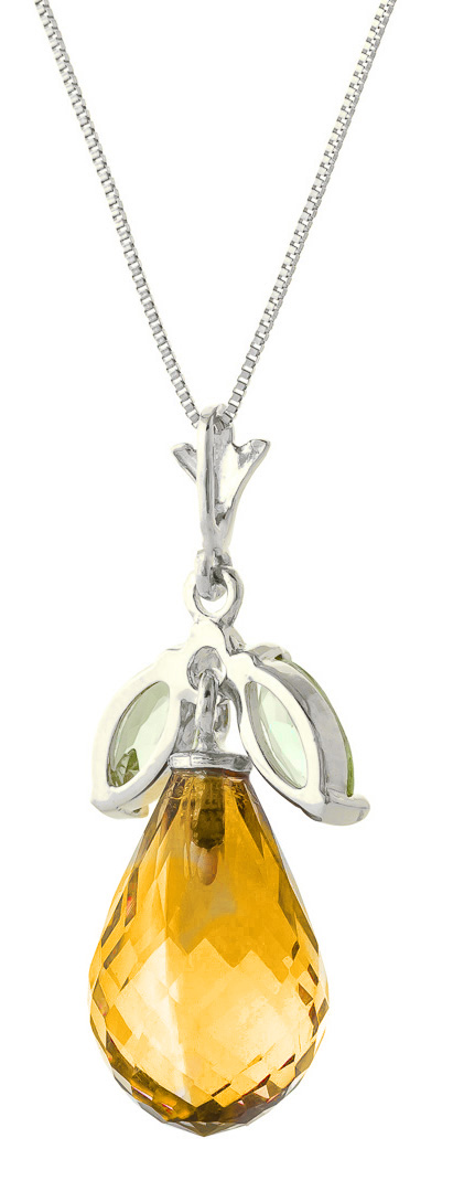 Citrine and Peridot Pendant Necklace 7.2ctw in 9ct White Gold