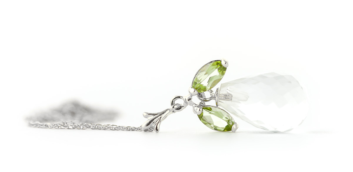 White Topaz and Peridot Pendant Necklace 7.2ctw in 9ct White Gold