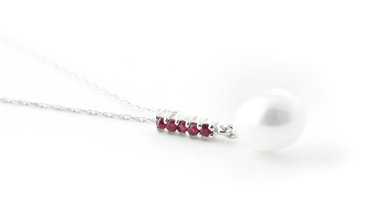 Pearl and Ruby Pendant Necklace 4.2ctw in 9ct White Gold