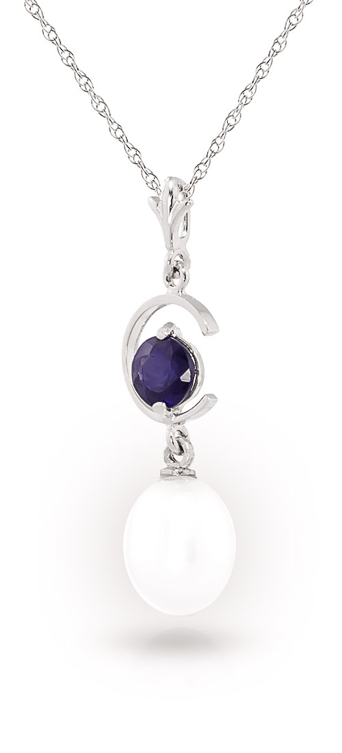 Pearl and Sapphire Pendant Necklace 4.5ctw in 9ct White Gold