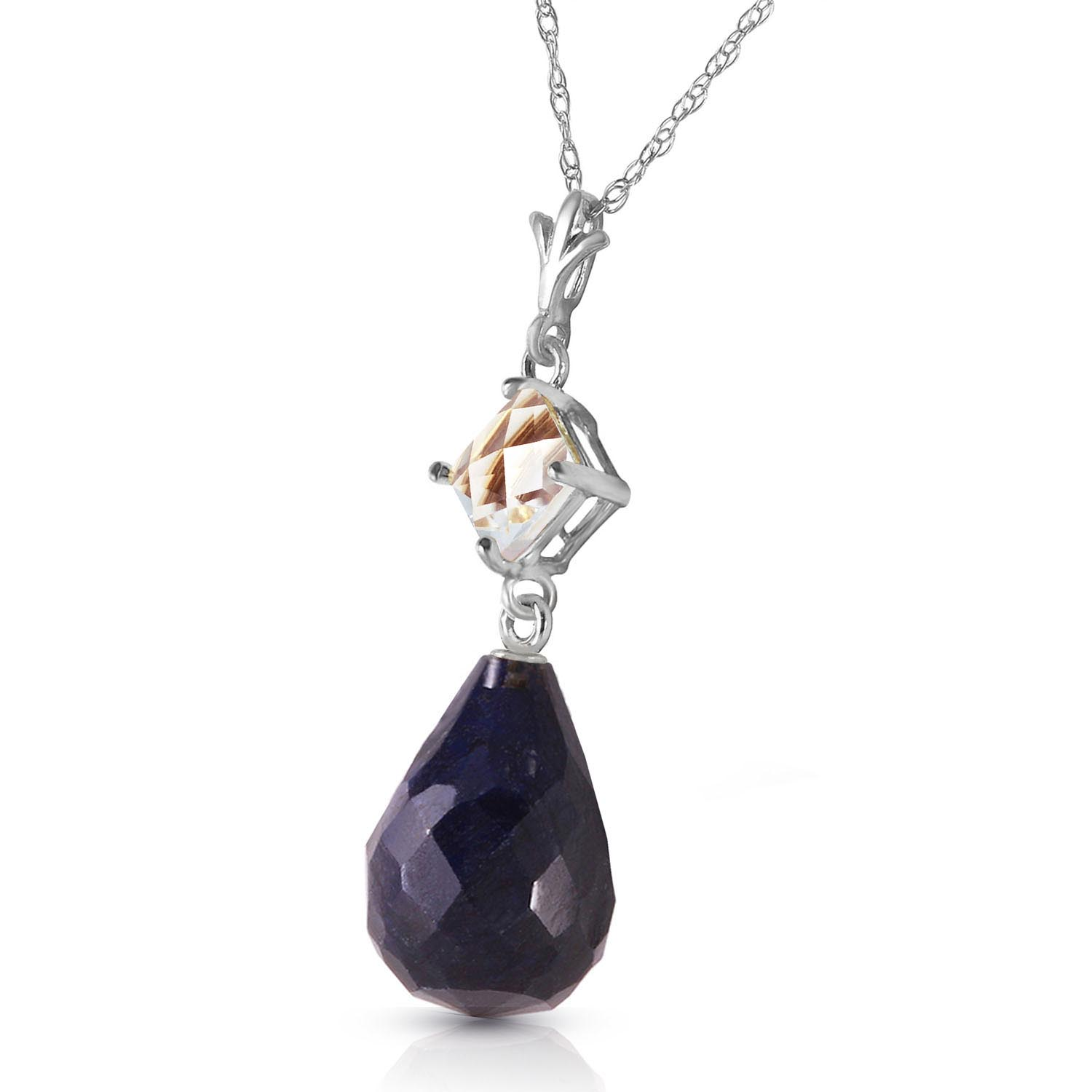 Sapphire and White Topaz Pendant Necklace 9.3ctw in 9ct White Gold