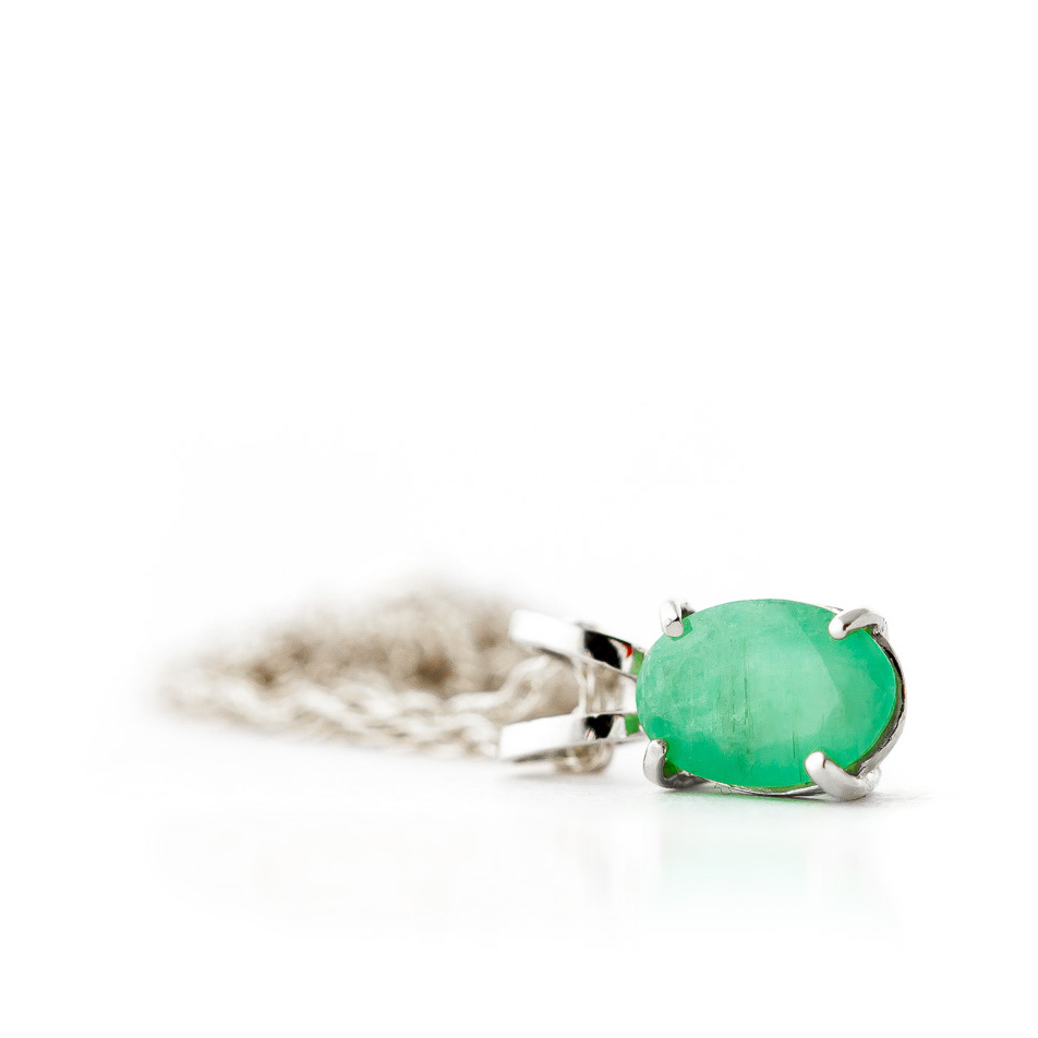 Oval Cut Emerald Pendant Necklace 0.75ct in 9ct White Gold
