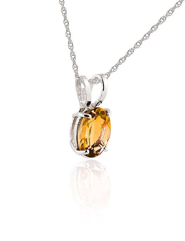 Oval Cut Citrine Pendant Necklace 0.85ct in 9ct White Gold