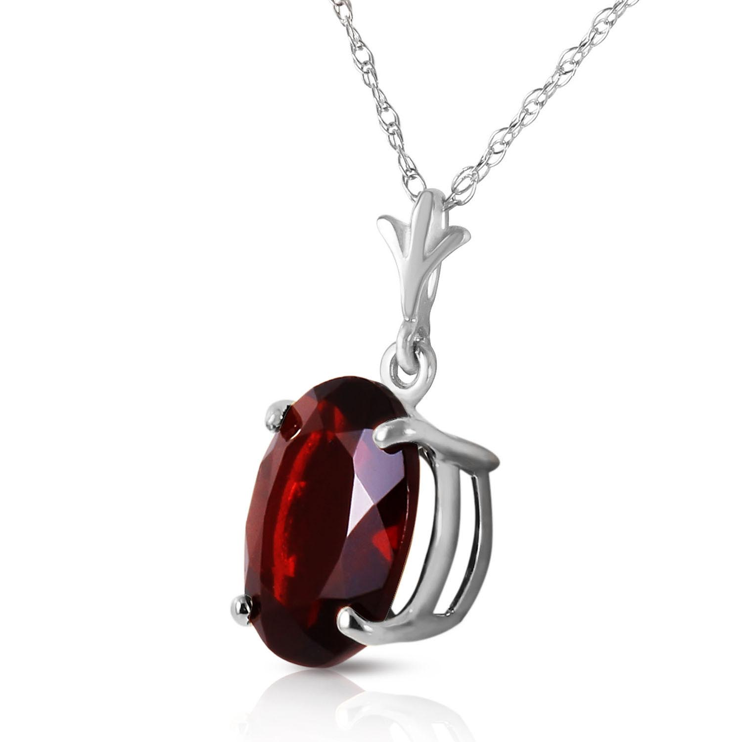 Oval Cut Garnet Pendant Necklace 3.12ct in 9ct White Gold