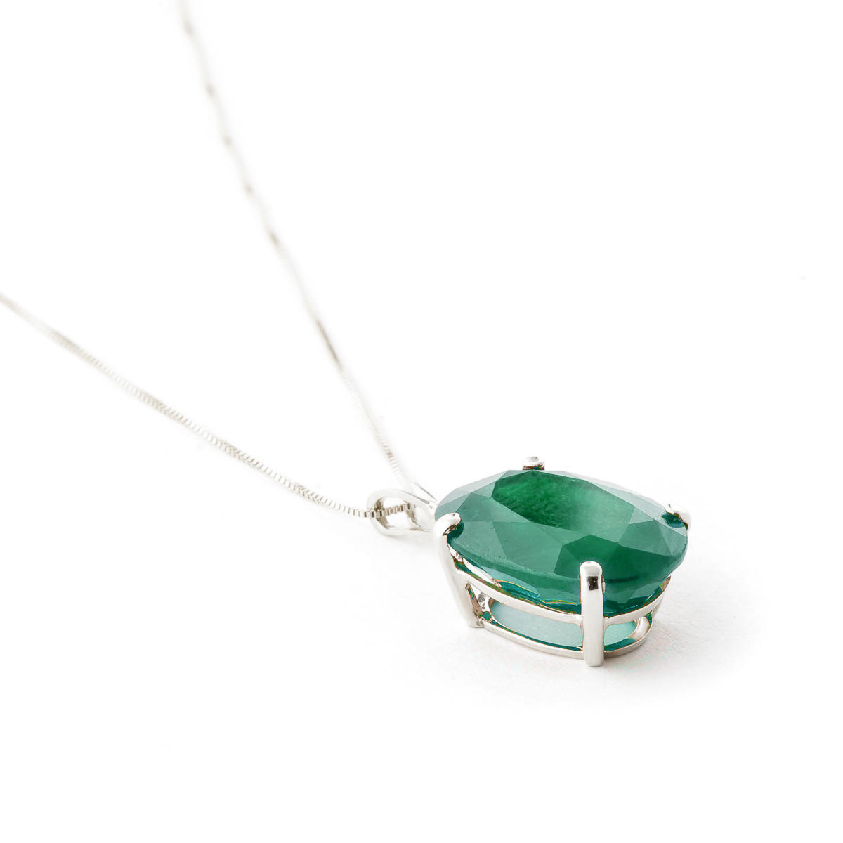 Oval Cut Emerald Pendant Necklace 6.5ct in 9ct White Gold