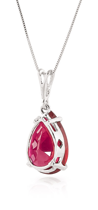 Pear Cut Ruby Pendant Necklace 5.0ct in 9ct White Gold