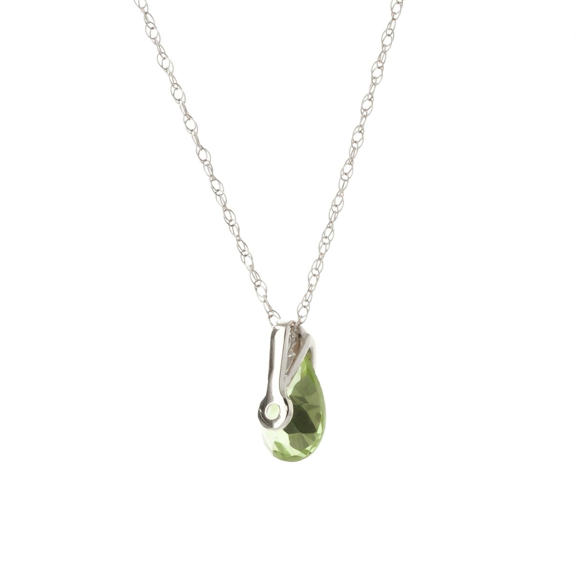 Pear Cut Peridot Pendant Necklace 0.68ct in 9ct White Gold
