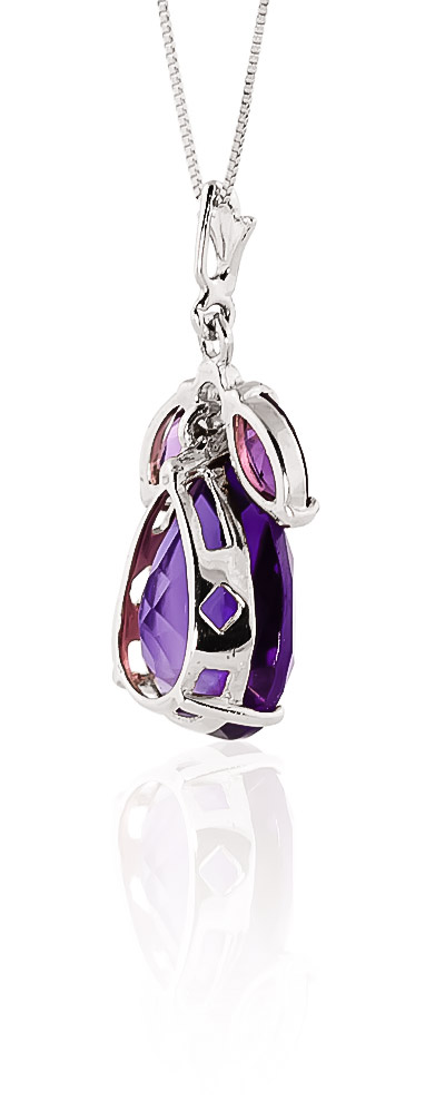 Pear Cut Amethyst Pendant Necklace 6.5ctw in 9ct White Gold