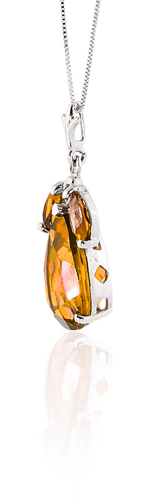 Pear Cut Citrine Pendant Necklace 6.5ctw in 9ct White Gold