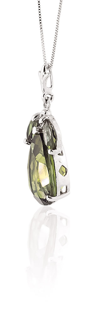 Pear Cut Green Amethyst Pendant Necklace 6.5ctw in 9ct White Gold