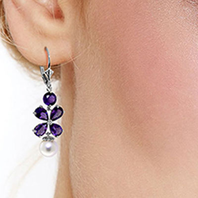Amethyst and Pearl Blossom Drop Earrings 6.28ctw in 9ct White Gold