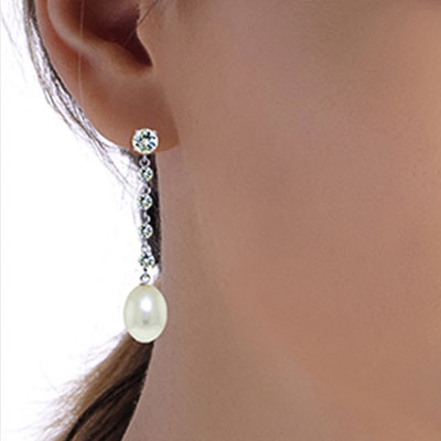 Aquamarine and Pearl by the Yard Drop Earrings 10.0ctw in 9ct White Gold