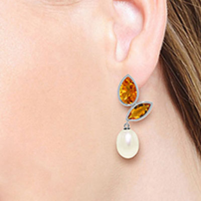 Citrine and Pearl Petal Drop Earrings 16.0ctw in 9ct White Gold