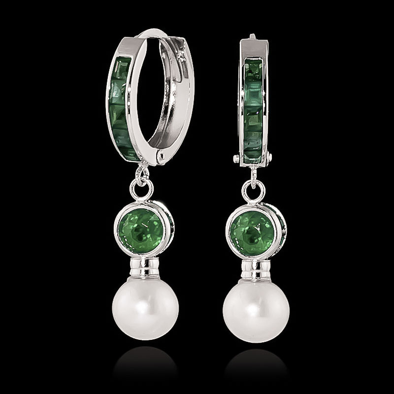 Emerald and Pearl Huggie Earrings 4.65ctw in 9ct White Gold