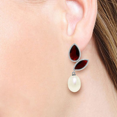 Garnet and Pearl Petal Drop Earrings 16.0ctw in 9ct White Gold
