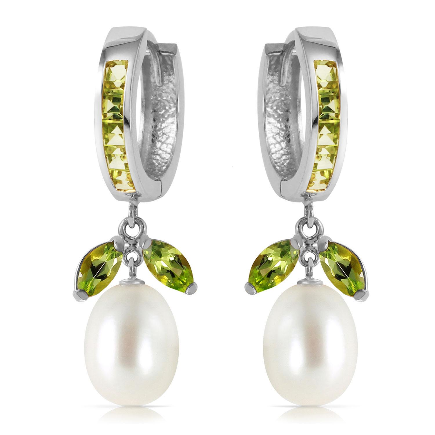 Peridot and Pearl Dewdrop Huggie Earrings 10.3ctw in 9ct White Gold