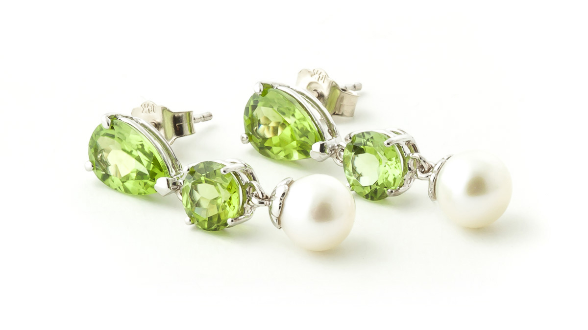 Peridot and Pearl Droplet Earrings 10.5ctw in 9ct White Gold