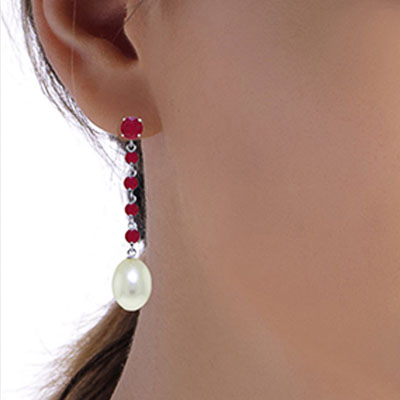 Ruby and Pearl by the Yard Drop Earrings 10.0ctw in 9ct White Gold