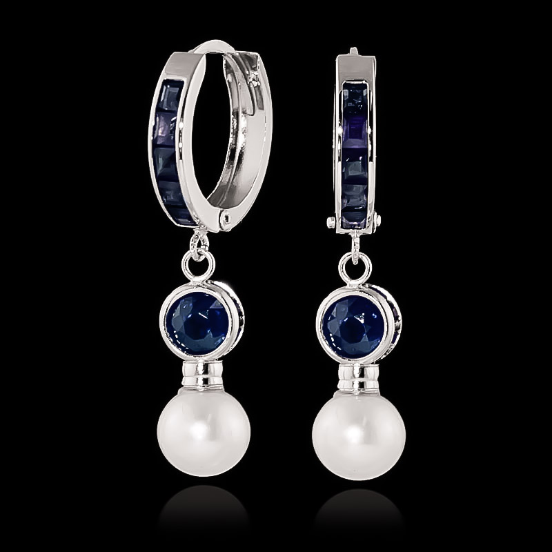Sapphire and Pearl Huggie Earrings 4.65ctw in 9ct White Gold