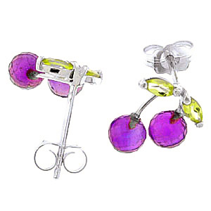 Amethyst and Peridot Cherry Drop Stud Earrings 2.9ctw in 9ct White Gold