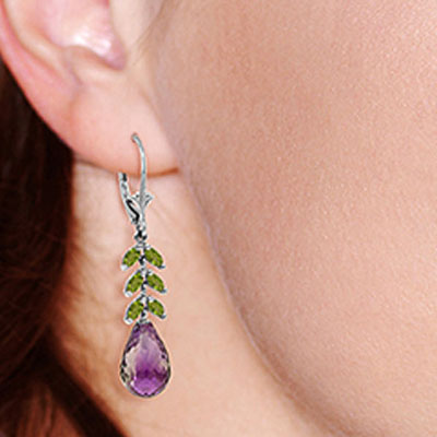 Amethyst and Peridot Drop Earrings 11.2ctw in 9ct White Gold