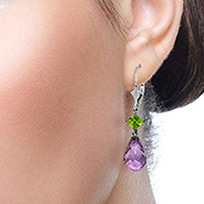 Amethyst and Peridot Drop Earrings 11.0ctw in 9ct White Gold