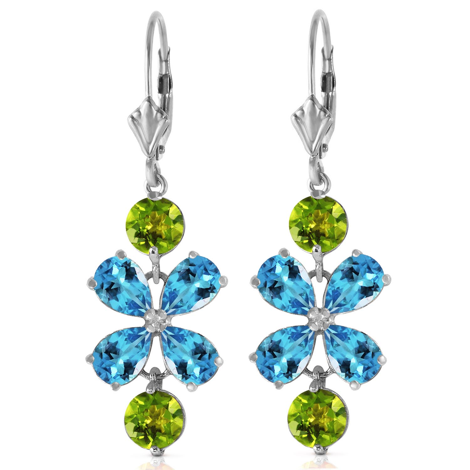 Blue Topaz and Peridot Blossom Drop Earrings 5.32ctw in 9ct White Gold