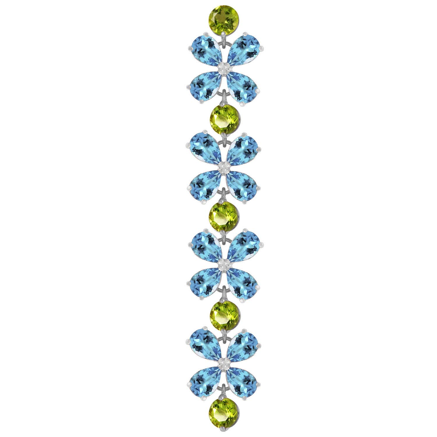 Blue Topaz and Peridot Blossom Bracelet 20.7ctw in 9ct White Gold
