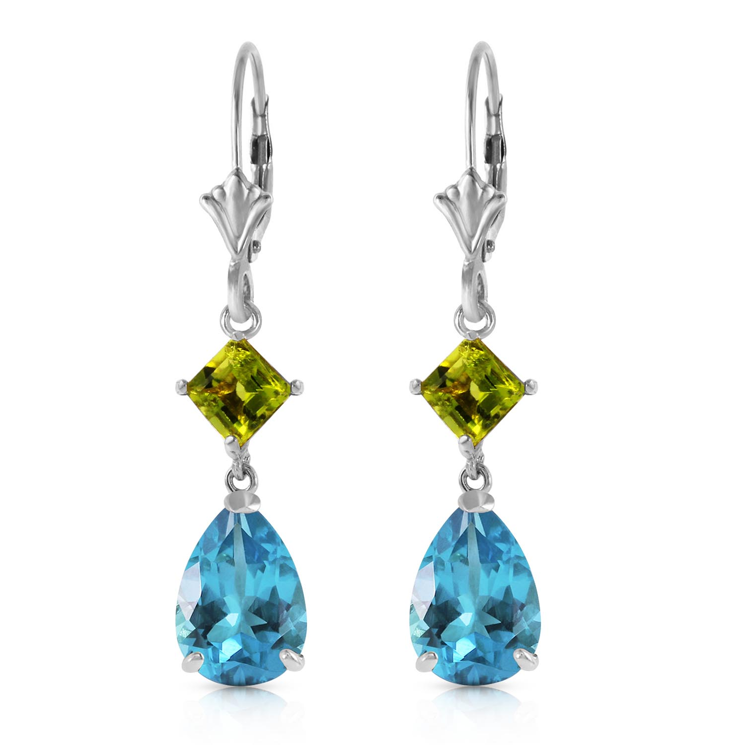 Blue Topaz and Peridot Droplet Earrings 4.5ctw in 9ct White Gold