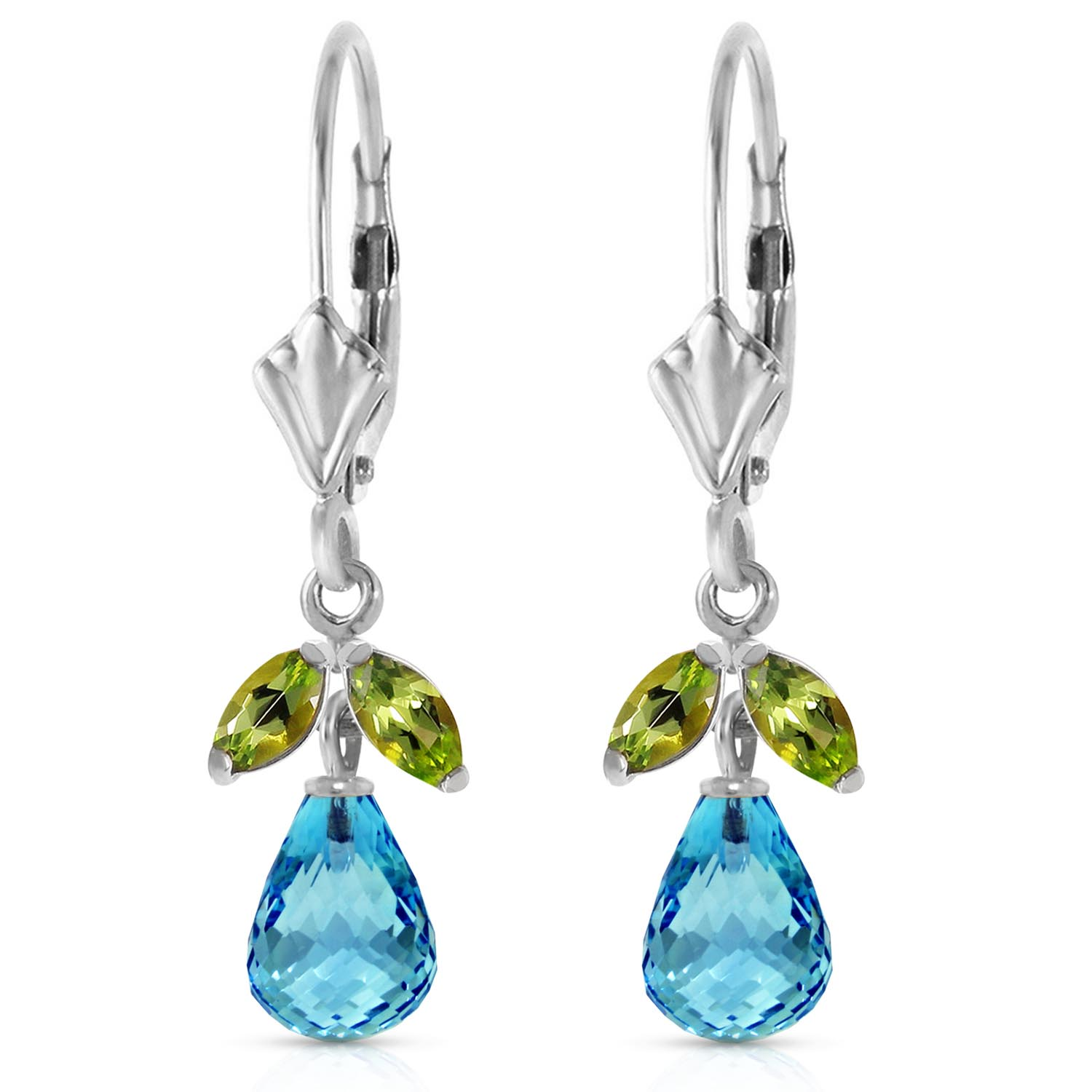 Blue Topaz and Peridot Snowdrop Earrings 3.4ctw in 9ct White Gold