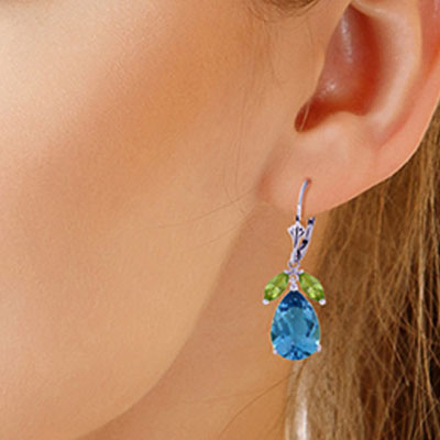 Blue Topaz and Peridot Drop Earrings 13.0ctw in 9ct White Gold