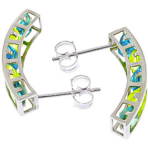 Blue Topaz and Peridot Channel Set Stud Earrings 4.5ctw in 9ct White Gold