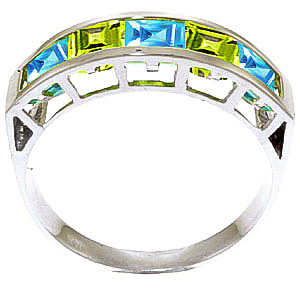 Blue Topaz and Peridot Ring 2.25ctw in 9ct White Gold