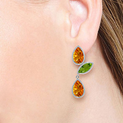 Citrine and Peridot Petal Drop Earrings 13.6ctw in 9ct White Gold