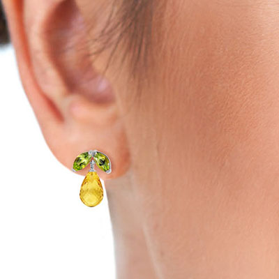 Citrine and Peridot Snowdrop Stud Earrings 3.4ctw in 9ct White Gold