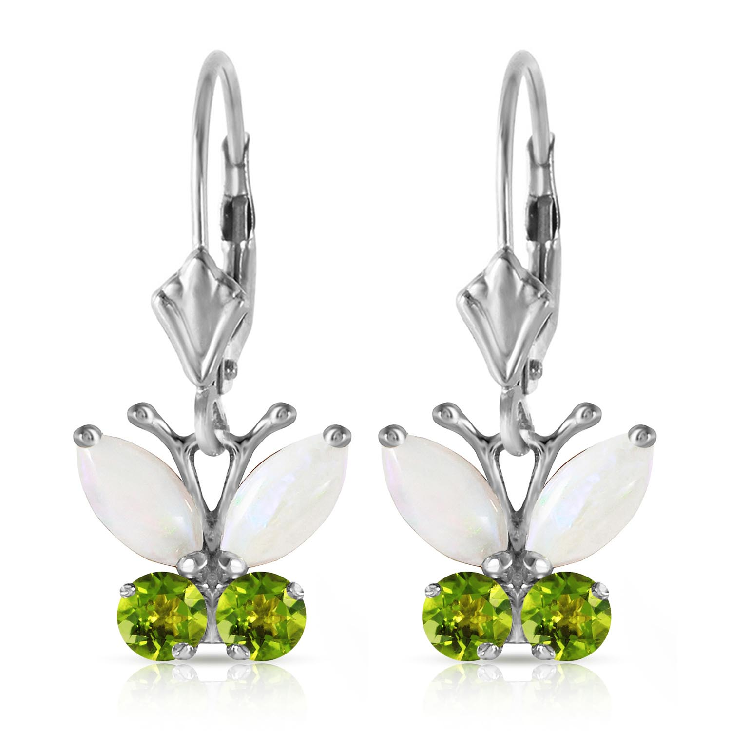 Opal and Peridot Butterfly Drop Earrings 1.39ctw in 9ct White Gold