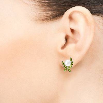 Pearl and Peridot Ivy Stud Earrings 3.25ctw in 9ct White Gold
