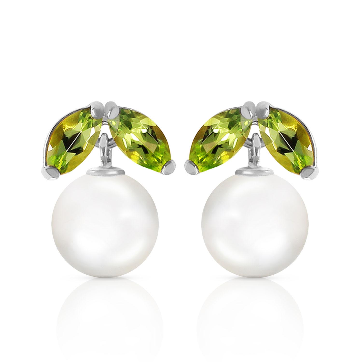 Pearl and Peridot Snowdrop Stud Earrings 4.4ctw in 9ct White Gold