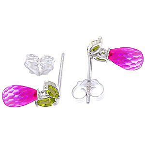Pink Topaz and Peridot Snowdrop Stud Earrings 3.4ctw in 9ct White Gold