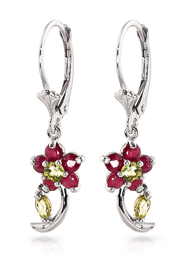 Ruby and Peridot Flower Petal Drop Earrings 1.72ctw in 9ct White Gold