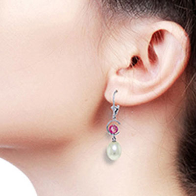 Pearl and Pink Topaz Drop Earrings 9.0ctw in 9ct White Gold